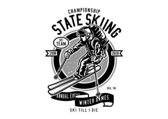State Skiing Tshirt Design buy t shirt design