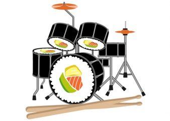 Sushi Drum Tshirt Design buy t shirt design