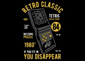 Tetris Brick Game Vector t-shirt design