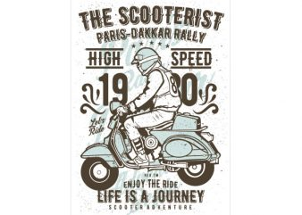 The Scooterist 1980 Graphic t-shirt design buy t shirt design