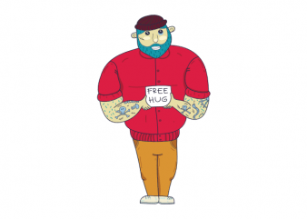 Tough guy free hugs funny graphic t shirt design