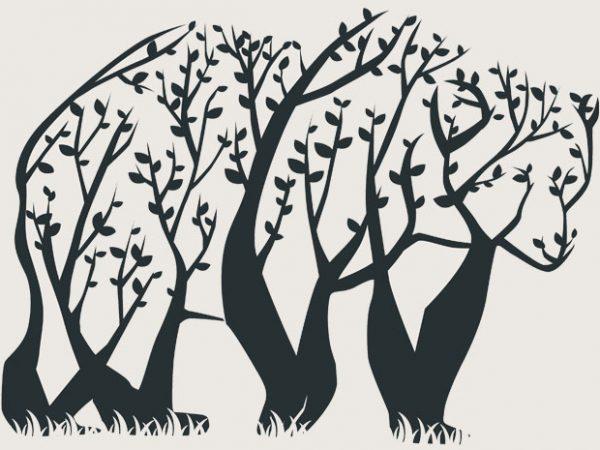 Tree Bear Tshirt Design