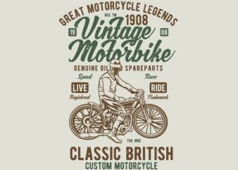 Vintage Motorbike Vector t-shirt design buy t shirt design