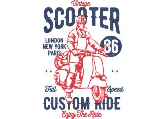 Vintage Scooter Vector t-shirt design buy t shirt design