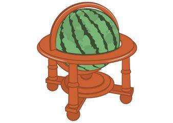 Watermelon Globe Tshirt Design
