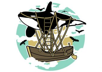 Whale Air Balloon Tshirt Design buy t shirt design