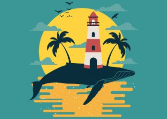 Whale Lighthouse Tshirt Design