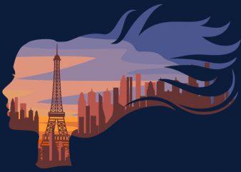 Woman In Paris Tshirt Design buy t shirt design