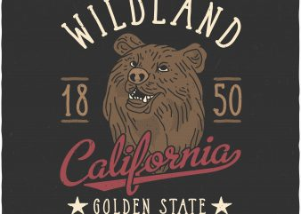 California wildland. Vector T-Shirt Design