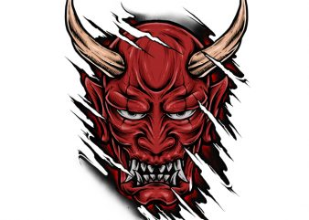 Red Hannya t shirt design online