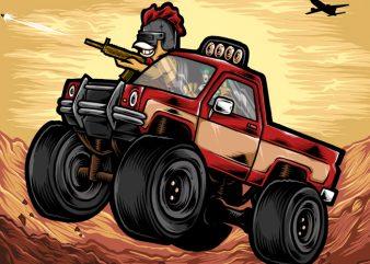 Chicken Hunter t shirt vector file