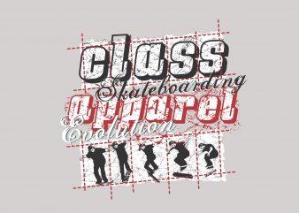 Class Skateboarding t shirt template