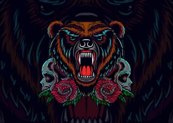bear and skull buy t shirt design