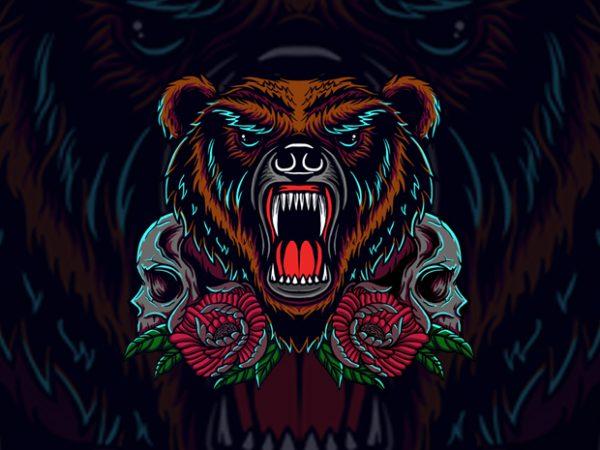 bear and skull t shirt template