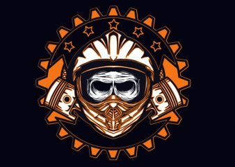dead skull motocross t shirt vector illustration