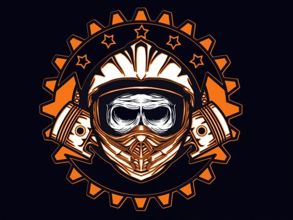 dead skull motocross t shirt vector illustration