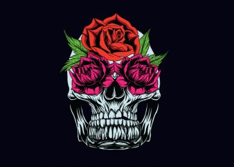 flowerskull t shirt graphic design