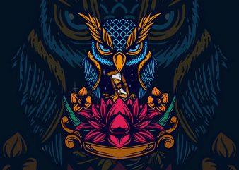 owl and lotus t shirt design online