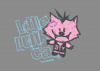 Little Punk Cat t shirt vector graphic