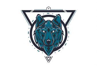 mystical wolf t shirt vector