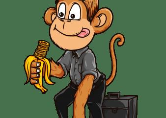 servant monkey t shirt template vector