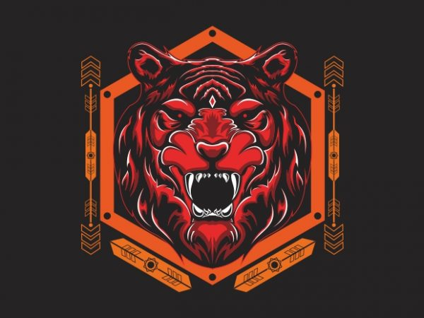 tiger head sacred geometry t shirt designs for sale