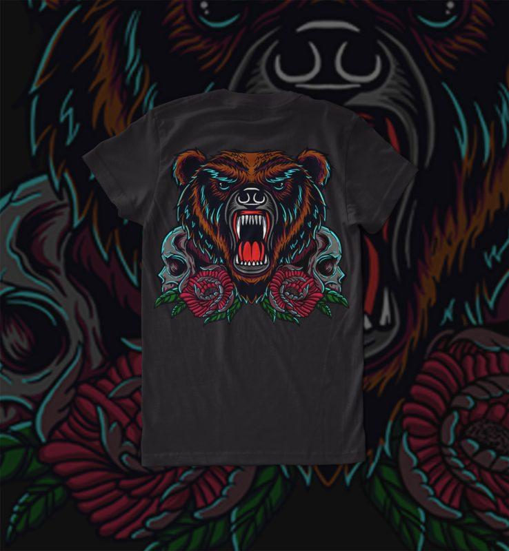 bear and skull buy t shirt design