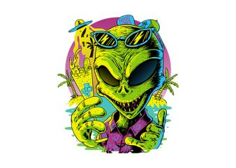 Alien Summer Vibes buy t shirt design