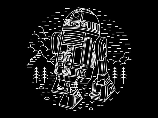 Black Droid t shirt template