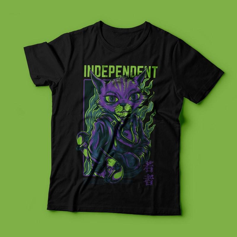 Independent Cat T-Shirt Design buy t shirt design