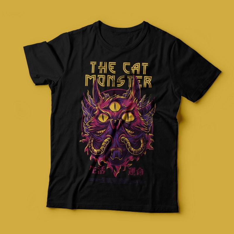 The Cat Monster T-Shirt Design buy t shirt design