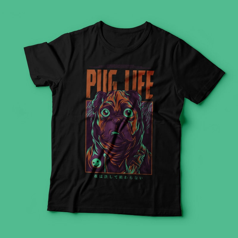 Pug Life T-Shirt Design buy t shirt design