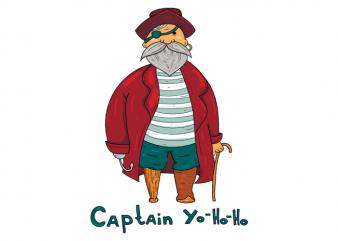Captain Yo Ho Ho funny pirate kids clothing t shirt printing design