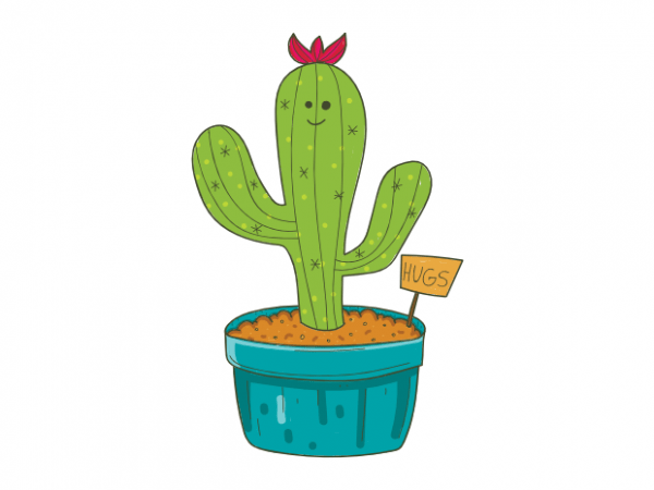 65cebb74 Cute doodle cactus with funny hugs shield t shirt graphic design buy t shirt  design
