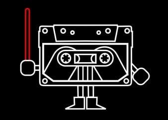 Dark Cassette t shirt vector illustration