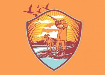 Duck Hunting t shirt vector illustration