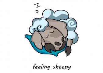 Feeling sheepy funny pun with cute sleeping sheep vector t shirt design buy t shirt design