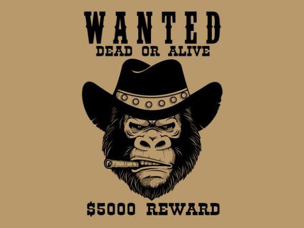 Gorilla Wanted t shirt design template
