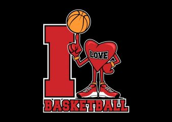 I Love Basketball t shirt design for sale