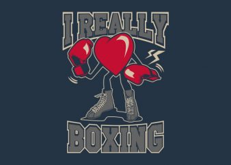 I Really Love Boxing t shirt design for sale