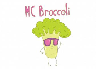 Mc broccoli funny rapping broccoli with sunglasses graphic t shirt design buy t shirt design