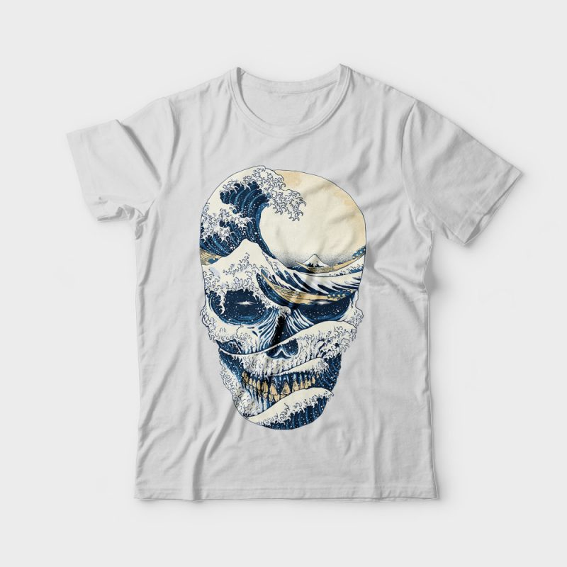 The Great Wave off Skull buy t shirt design