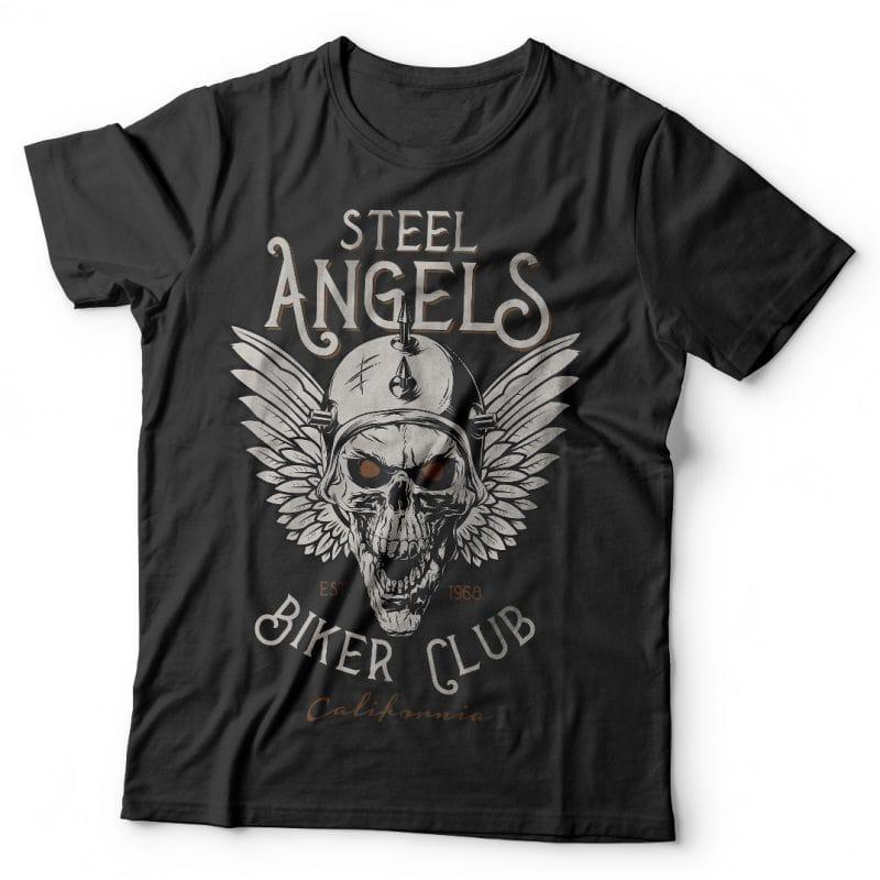 Steel angels. Vector T-Shirt Design buy t shirt design