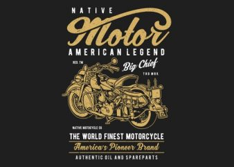 Native Motorcycle Vector t-shirt design buy t shirt design