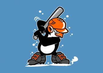 Penguins baseball t shirt illustration