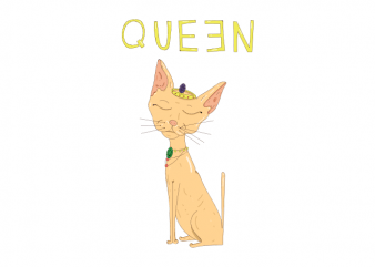 Queen cute sphynx cat princess t shirt printing design buy t shirt design
