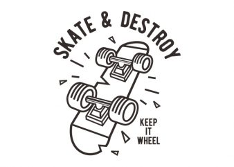 Skate & Destroy t shirt template vector