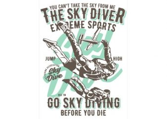 Sky Diver Vector t-shirt design buy t shirt design