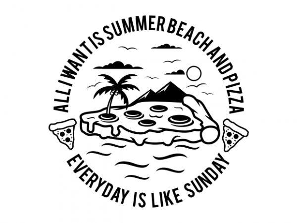 Summer Beach and Pizza t shirt template vector