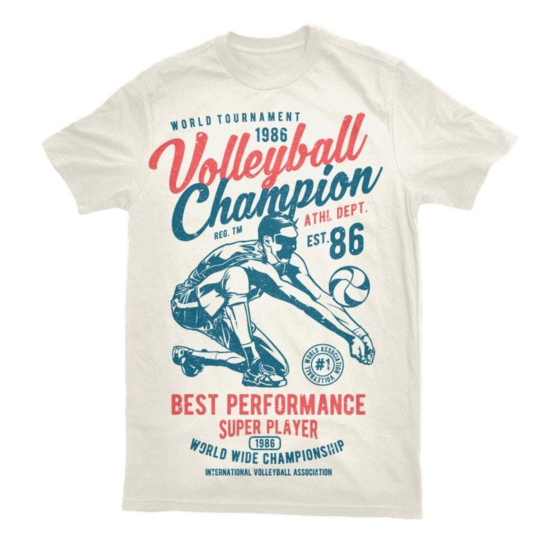 Volleyball Champion Vector t-shirt design buy t shirt design